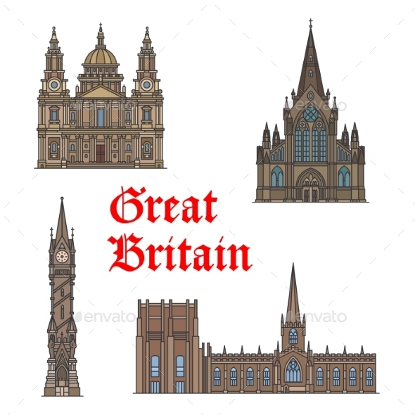 GraphicRiver British Travel Landmark of Architecture Icon Set 20571635