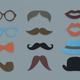 Glasses Pipe Moustache Hat Lipstick Marks Hipster Mix - PhotoDune Item for Sale