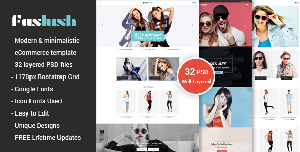ThemeForest Faslush A Modern & Minimalistic eCommerce PSD Template 20572435