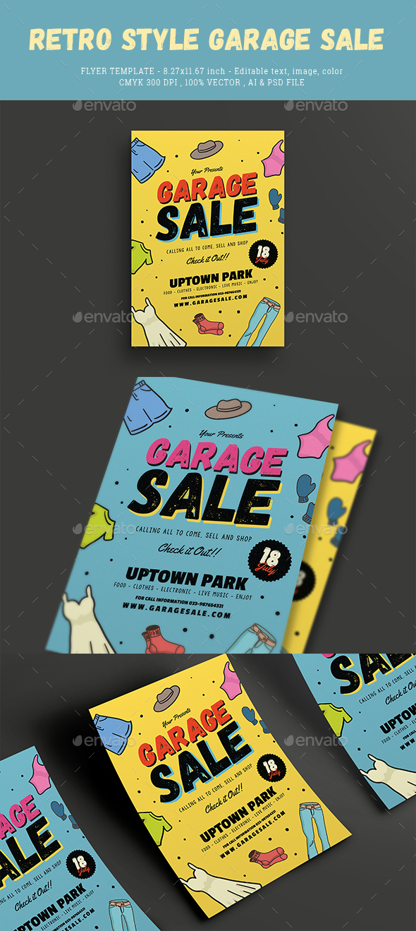 GraphicRiver Retro Style Garage Sale Flyer 20572500