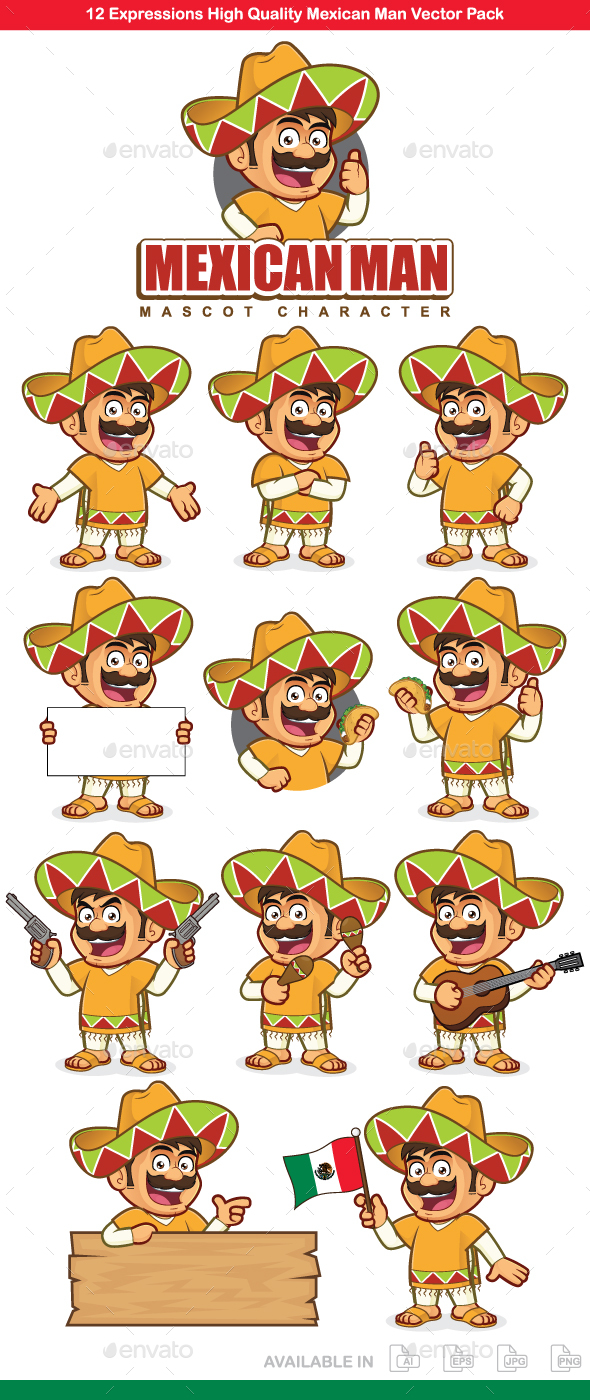 GraphicRiver Mexican Man Mascot Character 20572502