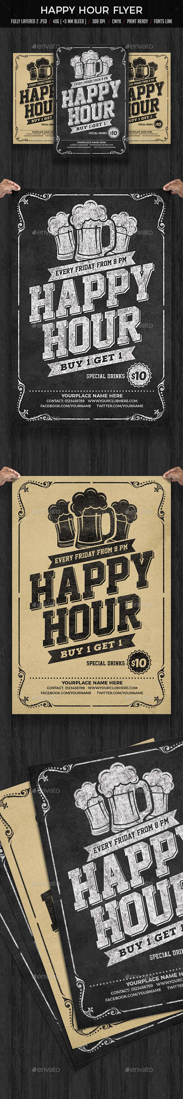 GraphicRiver Happy Hour Flyer 20573067