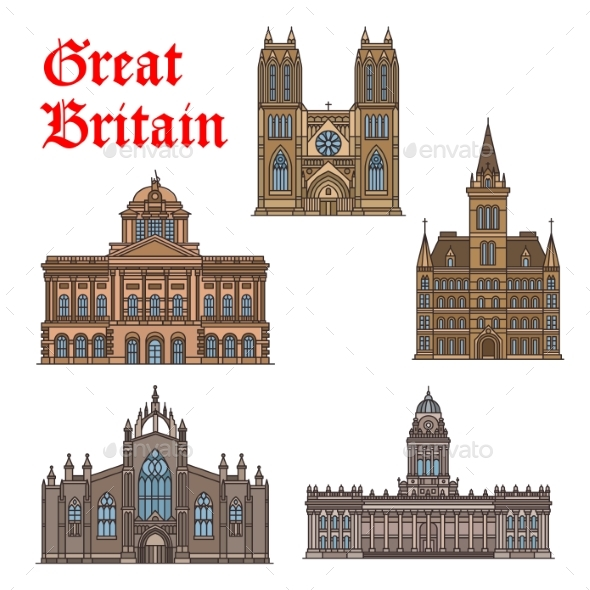 GraphicRiver Travel Landmark of Great Britain Icon Set 20573195