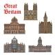 Travel Landmark of Great Britain Icon Set