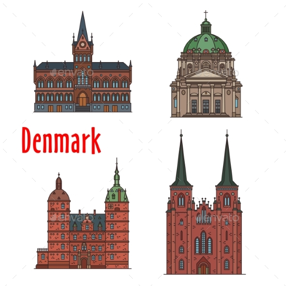 GraphicRiver Travel Landmark of Kingdom of Denmark Icon Set 20573202