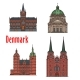 Travel Landmark of Kingdom of Denmark Icon Set