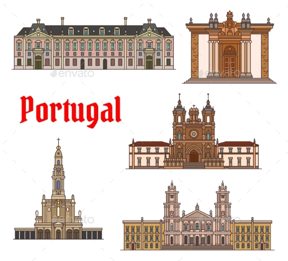 Portuguese Travel Landmark Thin Line Icon Set - Travel Conceptual
