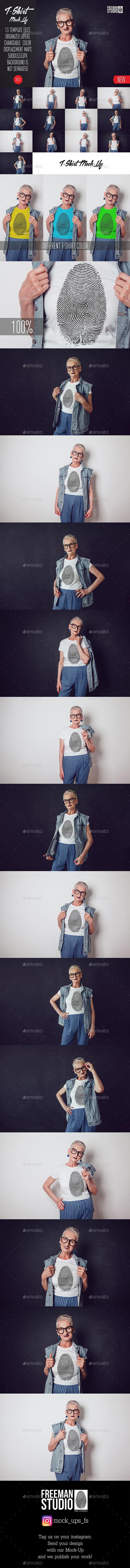 Old Woman T-Shirt Mock-Up - Product Mock-Ups Graphics