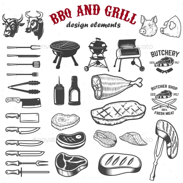 BBQ and Grill Design Elements for Logo - Food Objects