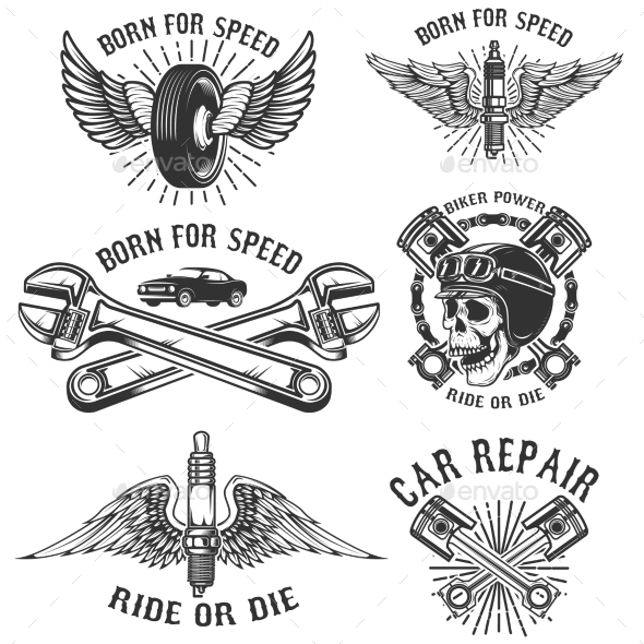 Set of Car Repair and Racing Emblems - Miscellaneous Vectors