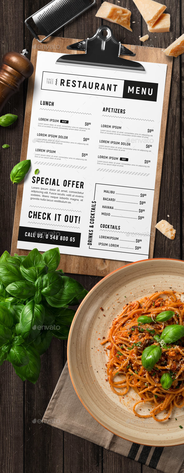 GraphicRiver Minimal restaurant food menu 20573989