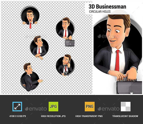 GraphicRiver 3D Businessman Coming Through Circular Holes in Wall 20574004