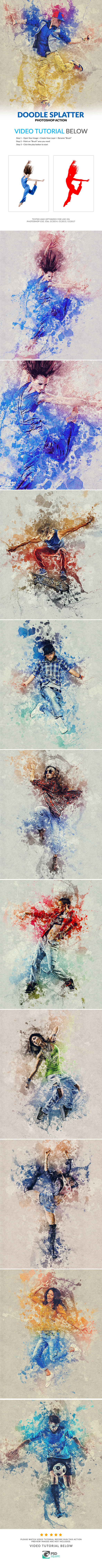 Doodle Splatter Photoshop Action - Photo Effects Actions