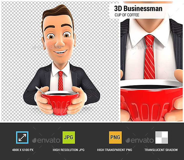 3D Businessman Drinking a Cup of Coffee - Characters 3D Renders