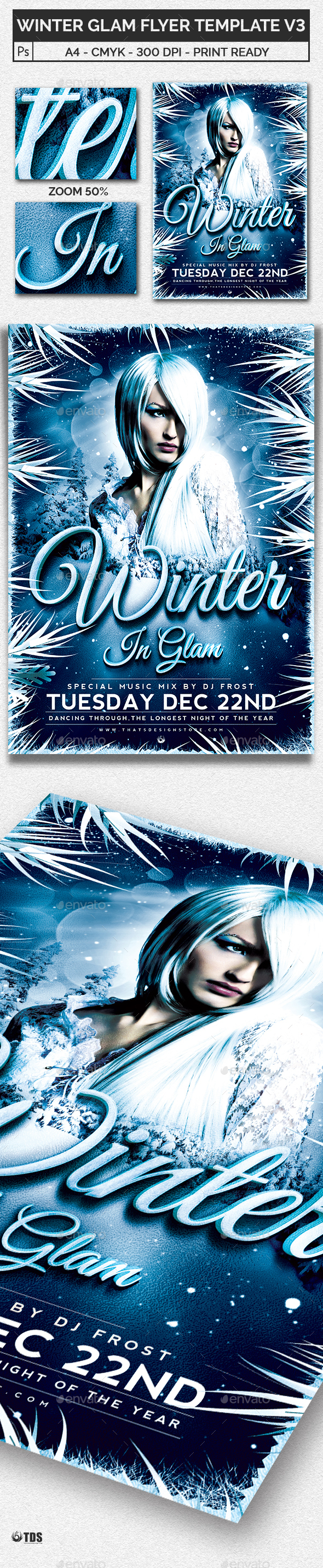 Winter Glam Flyer Template V3 - Clubs & Parties Events