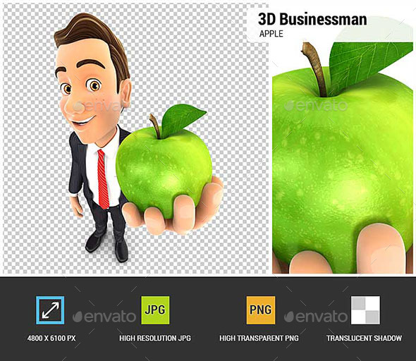 GraphicRiver 3D Businessman Holding Green Apple 20574074