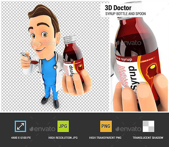 GraphicRiver 3D Doctor Holding Syrup Bottle and Spoon 20574098