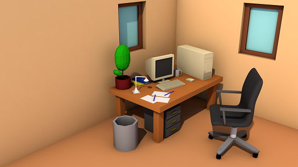 Low Poly Office Room - 3DOcean Item for Sale
