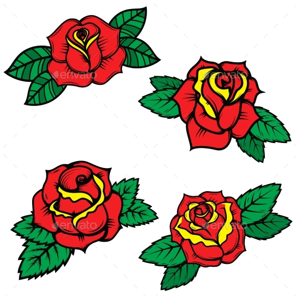 Set of Old School Tattoo Style Roses - Flowers & Plants Nature