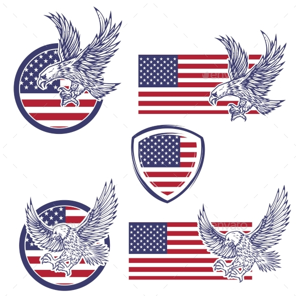 Set of the Emblems with Eagles - Miscellaneous Vectors