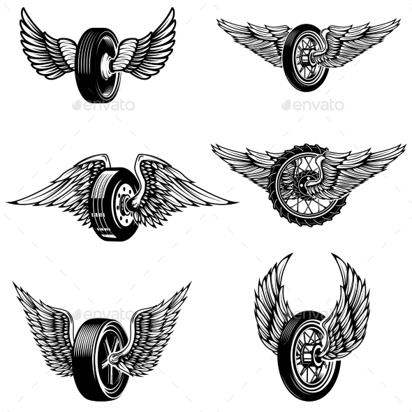 Set of Winged Car Tires on White Background.