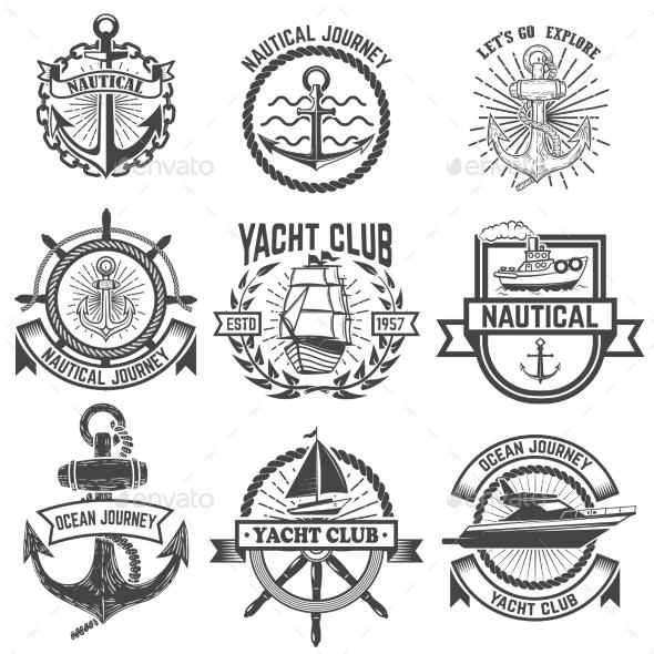 Set of Yacht Club Labels. Nautical - Miscellaneous Vectors