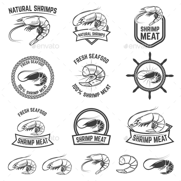 Set of the Shrimps Meat Labels - Food Objects