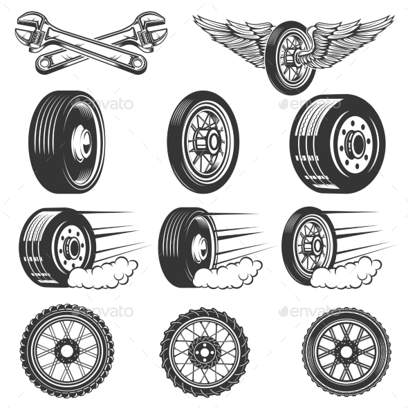 Tire Service. Set of Car Tires Illustrations - Man-made Objects Objects