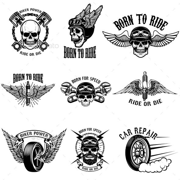 Set of Biker Emblems on White Background.
