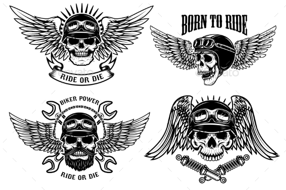 GraphicRiver Born To Ride Set of Biker Skulls with Wings 20574243