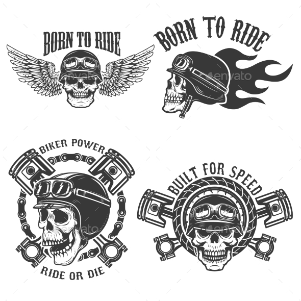 GraphicRiver Born To Ride Set of the Emblems 20574253