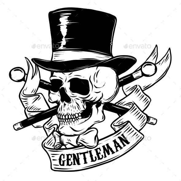 Gentleman. Skull in Vintage Hat. Design Element - Miscellaneous Vectors