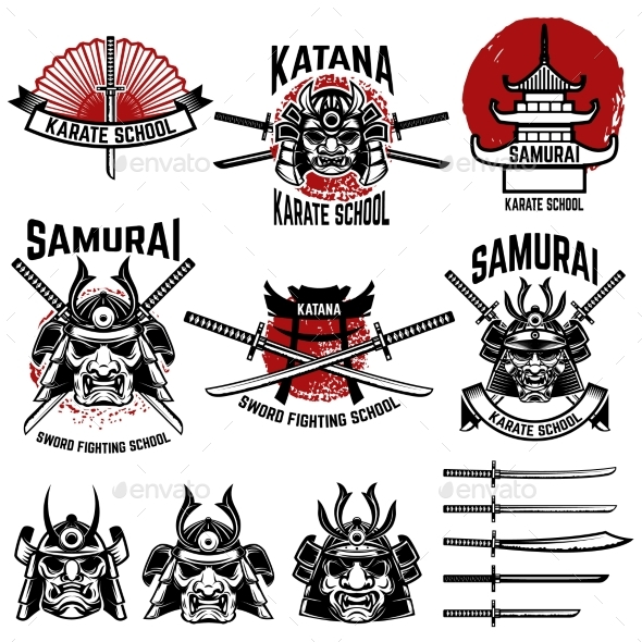 GraphicRiver Karate School Labels Samurai Swords Samurai 20574308