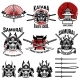 Karate School Labels. Samurai Swords, Samurai