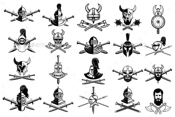Knight Logo Set. Skull in Horned Helmet, Crossed - Miscellaneous Vectors