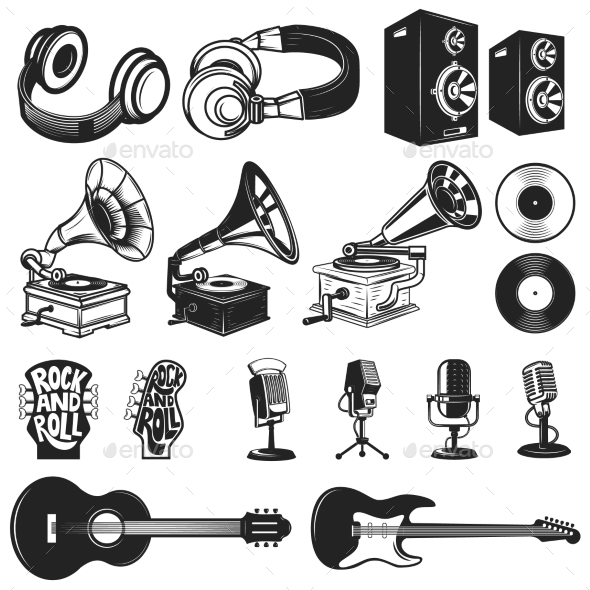 GraphicRiver Set of Design Elements for Music Labels 20574317