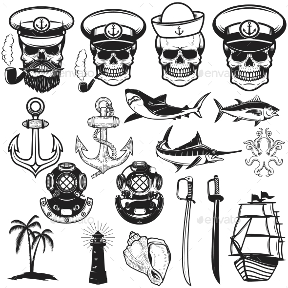 Set of Nautical Elements. Anchor, Fish, Shark - Animals Characters