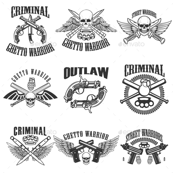 Set of Outlaw, Criminal, Street Warrior Emblems - Miscellaneous Vectors