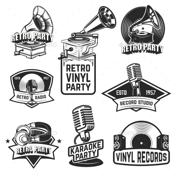 Set of Retro Party Emblems. Design Elements for - Miscellaneous Vectors