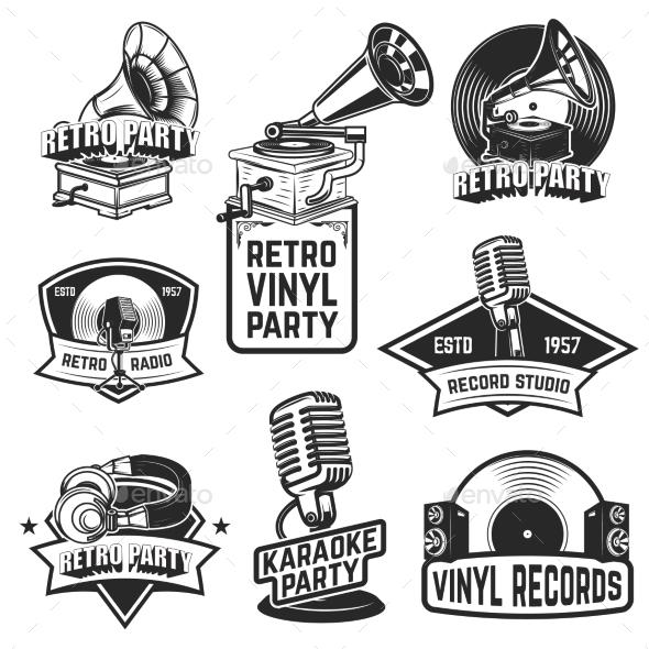 GraphicRiver Set of Retro Party Emblems Design Elements for 20574330