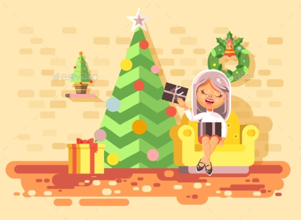 Vector Illustration Cartoon Character Child Girl - Christmas Seasons/Holidays