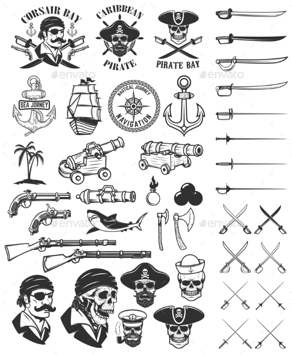 Pirates Design Elements. Corsair Skulls, Weapon - Miscellaneous Vectors