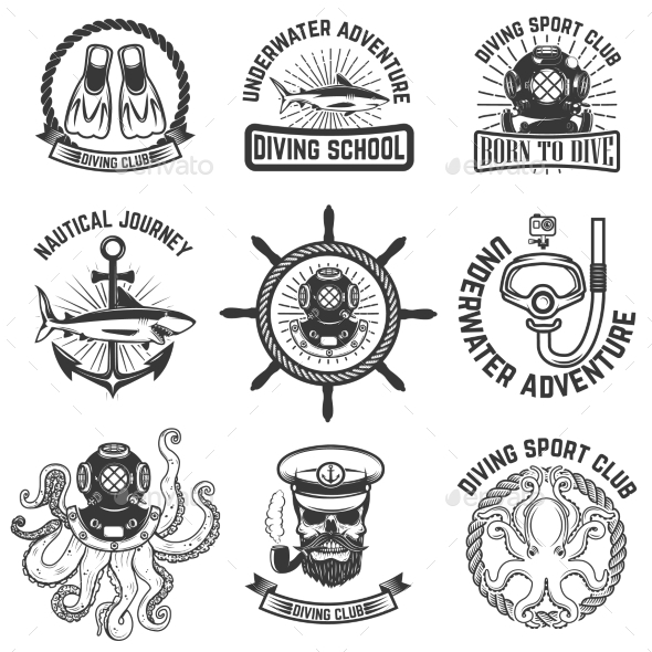 GraphicRiver Set of Scuba Diving Club Emblems Design Elements 20574344
