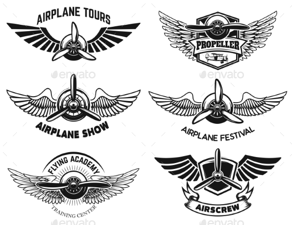 Set of Airplane Show Labels. Emblems with Wings - Man-made Objects Objects