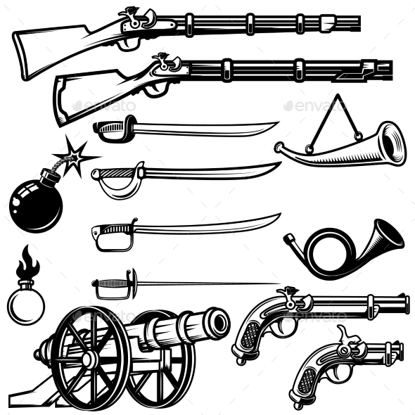 GraphicRiver Set of Ancient Weapon Muskets Saber Cannons 20574349