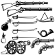 Set of Ancient Weapon. Muskets, Saber, Cannons
