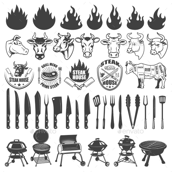 Set of BBQ and Grill Labels and Design Elements - Food Objects