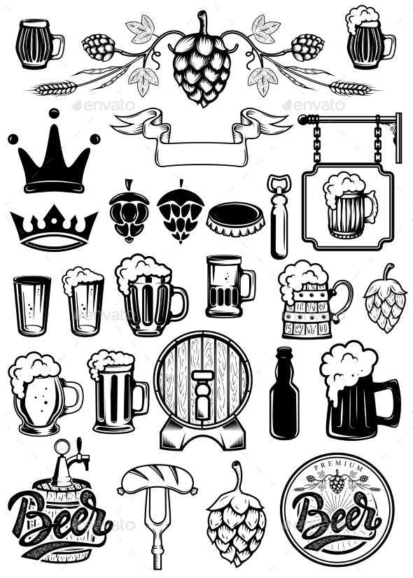GraphicRiver Set of Design Elements for Beer Labels Beer Mugs 20574360