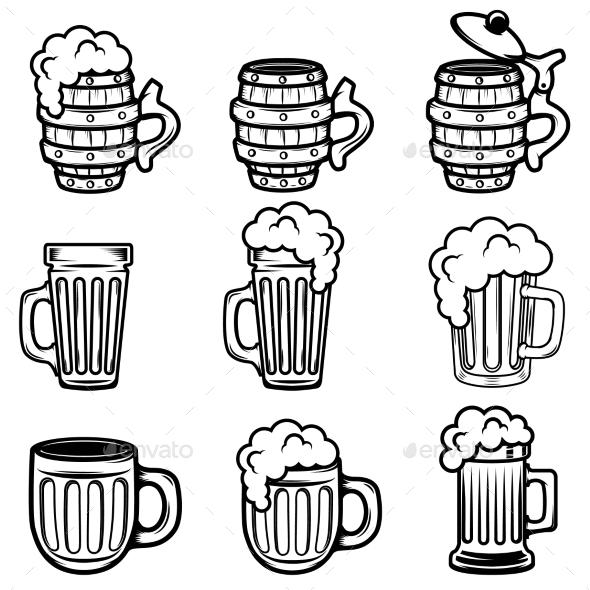 Set of Beer Mugs. Design Elements for Logo, Label - Food Objects
