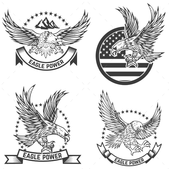 GraphicRiver Set of Coat of Arms with Eagles Design Elements 20574379